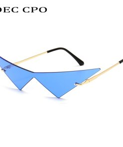 OEC CPO Oversized Cat eye Rimless Sunglasses Women Fashion One Piece Lens Sun Glasses Female Trend Triangle Eyewear Men UV400