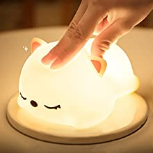 cute home decor led night light soft silicone touch sensor