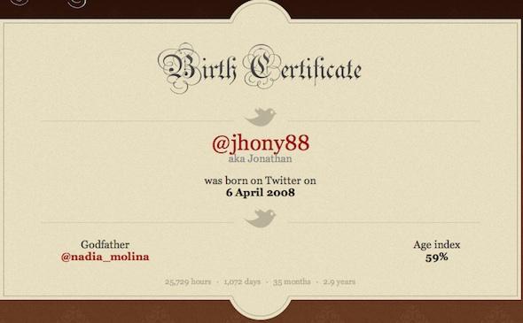 Certificado de Nacimiento de Twitter