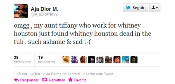 Primer tweet de la muerte de Houston