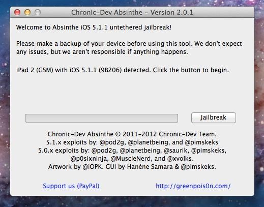 Jailbreak iPad 2 con iOS 5.1.1 - Absinthe