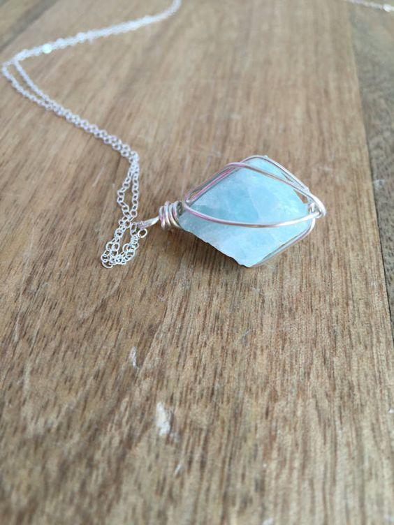 raw aquamarine necklace