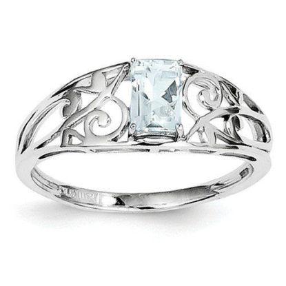 jade silver filegree aquamarine ring