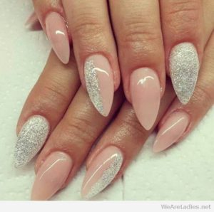 silver glitter and light pink nails