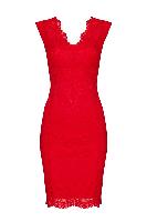 Petite Red Scallop Lace Dress