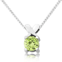 Sterling silver green cubic zirconia 'kiss' pendant