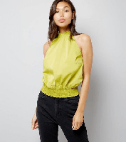 Lime Green High Neck Shirred Top