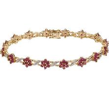 Gold ruby and diamond bracelet