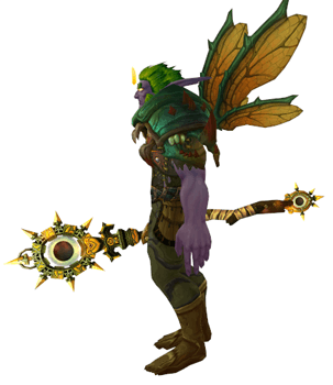 Living Wood Dragonfly druid transmog with wings - side view