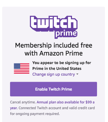 Connect Amazon to Twitch