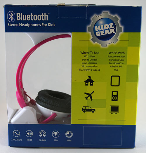 KidzGear Headphones Pink Back of Box