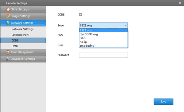 FunLux Zviewer NVR Camera Software - Remote Settings - Network Settings - Dynamic DNS