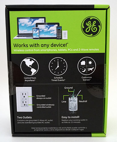 GE In-Wall Z-Wave Smart Outlet Back Box