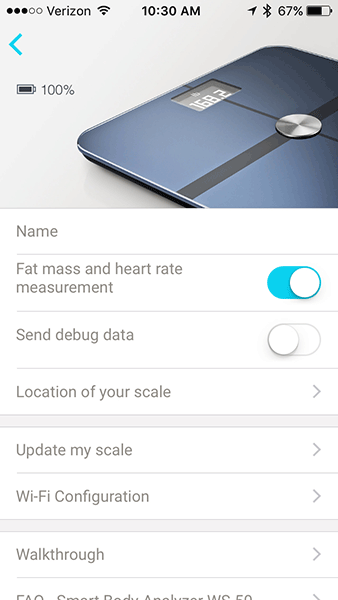 Withings Smart Body Analyzer - Device Settings