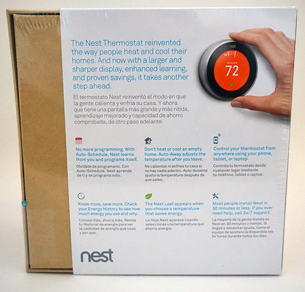 Nest 3rd Generation Thermostat - Rear Box