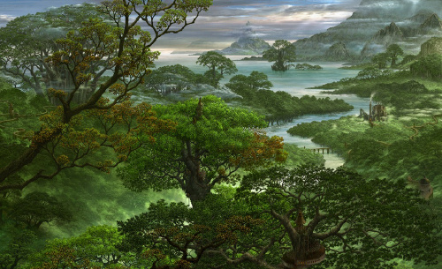 Fantasy Jungle Trees River