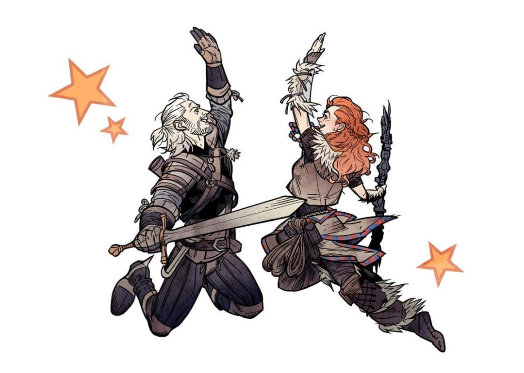 Geralt Witcher Aloy Horizon High Five