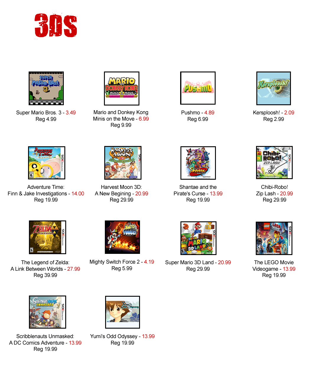3DS eshop aug 2016 sale