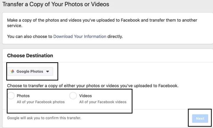 facebook to google photos