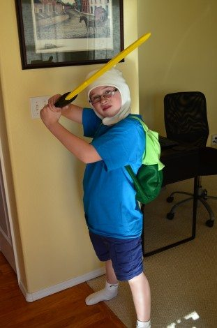 My most-awesome birthday boy as Finn. He asked for an Adventure Time birthday party and I did my best to offer a practical, affordable party experience. Photo: Patricia Vollmer.