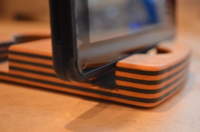 I also tried out the stand with one of my son's Kindle Fires. It doesn't work well in the skinnier of the two grooves. Photo: Patricia Vollmer.