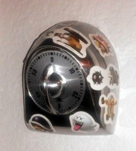 Decorate a kitchen timer with geeky stickers. Set it for a reasonable amount of quiet time.