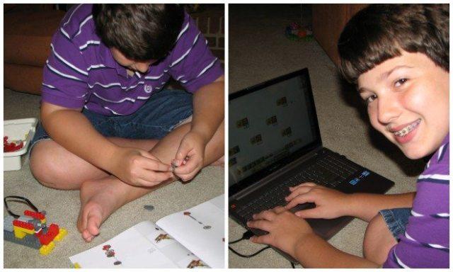 Joey building and programming the Lego Education WeDo Drumming Monkey Photos: Maryann Goldman