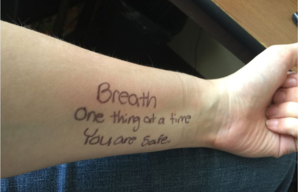 You can usually tell what kind of day I'm having by the messages I write to myself on my arm.  Image: Dakster Sullivan
