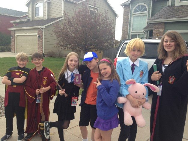 Several of our neighborhood families were part of the Denver Comic Con fun and dressed together. Can you guess who these kids are? Hint: the two in the middle are twins. Photo: Janet Baratti, used with permission.
