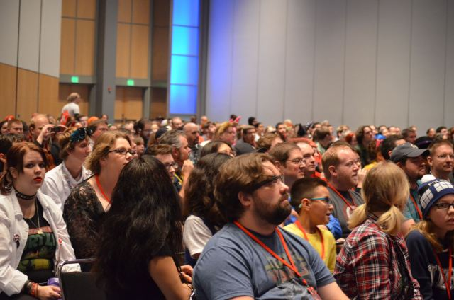 A view of the nearly full house for the Animaniacs Sing Along in the Main Events room. Denver Comic Con's panel experiences were much better than I thought they would be. Another reason why DCC is the place for families to get their geek on. Photo: Patricia Vollmer.