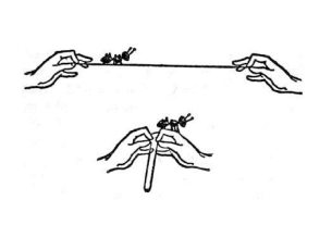 Illustration from A Wrinkle In Time, hands holding an outstretched string with an ant on one end, then hands folding the string together, so the ant is now perched on the hands