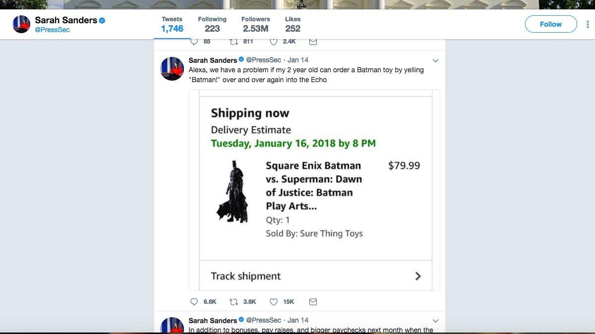 Image of tweet by Sarah Sanders re: Echo Dot