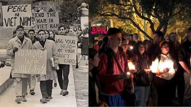 Left: college students marching to protest the Vietnam War; Right: high school students in California hold a candlelight vigil in support of Florida school shooting victims