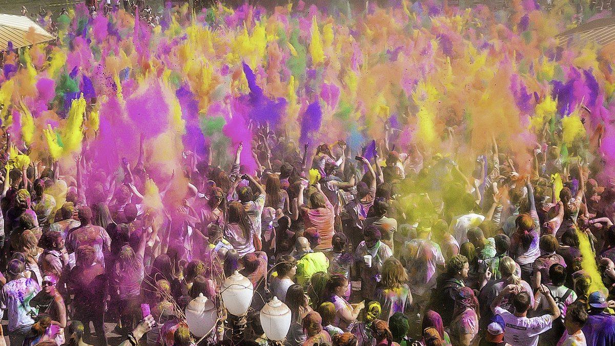 image of crowd celebrating Holi