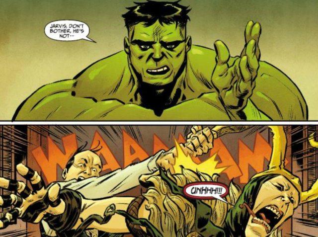 Two panels: Hulk speaking, and a white man hitting Loki with a frying pan