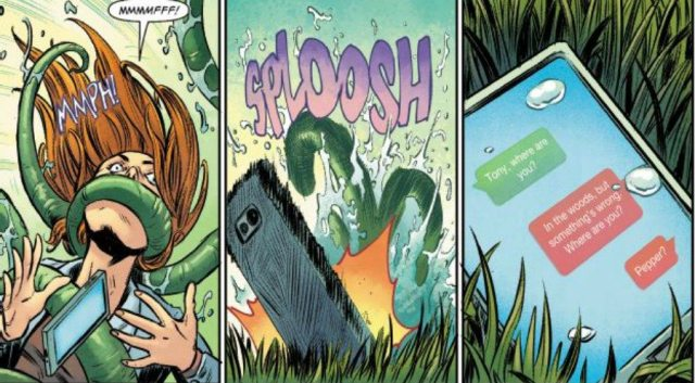Three panels; a redhaired white woman wrapped in tentacles, her cell phone falling to the ground, and an image of her conversation with tony