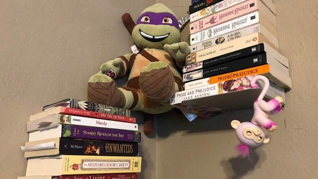 My Fingerling likes to hang around my books. \ Image: Dakster Sullivan