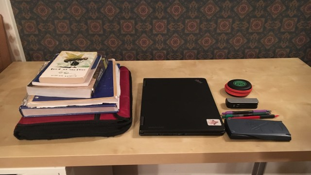Contents of Altitude Backpack (laptop, 3 books, binder, and small accessories)