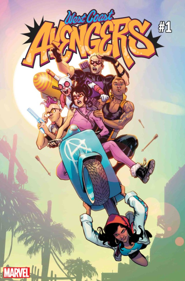 Several figures piled onto a blue motorcycle. The title reads West Coast Avengers