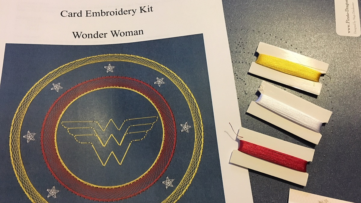 wonder woman card embroidery kit