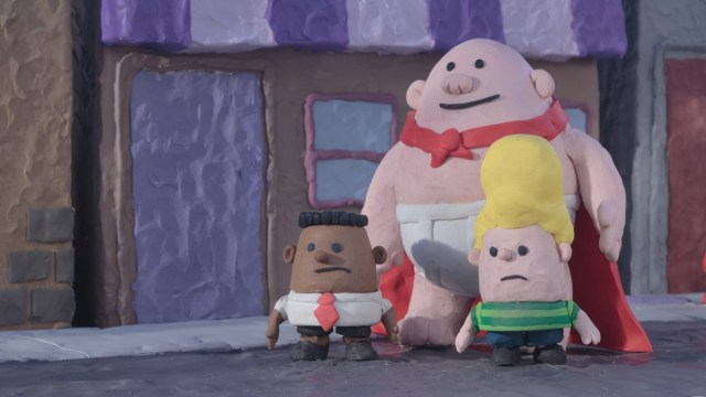 Still from 'The Epic Tales of Captain Underpants' showing clay figures of George, Captain Underpants, and Harold, the boys frowning.