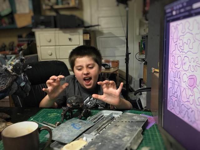 Wyatt having fun while helping his father on develop the world of Revilo