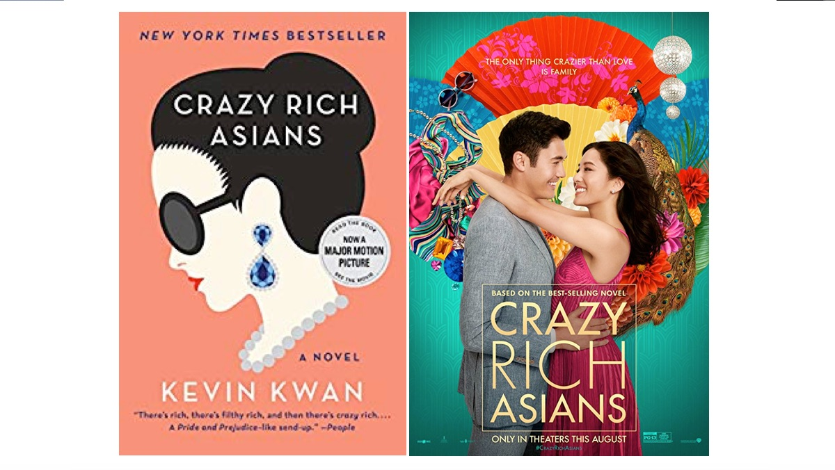 Crazy Rich Asians book cover and movie poster