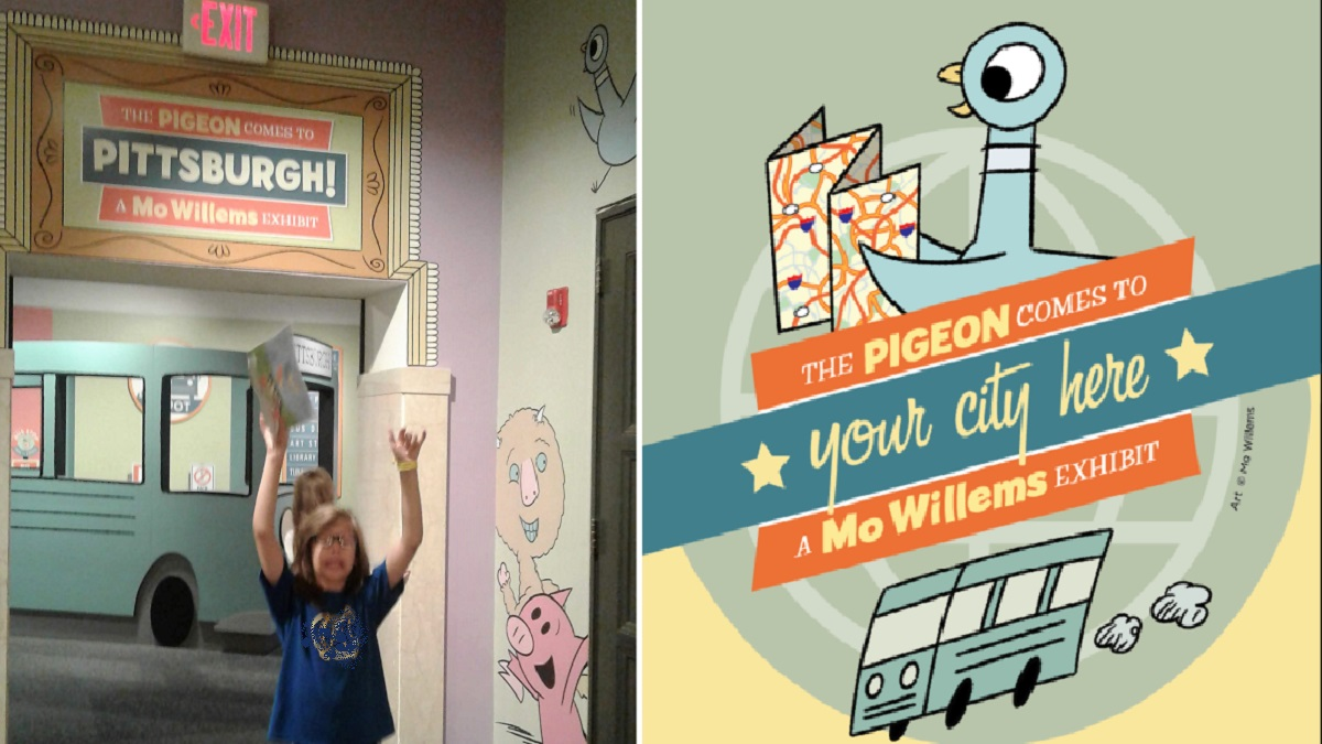 """Entrance to the """"Pigeon Comes to Pittsburgh"""" exhibit with an enthusiastic 11yo in front; customizable logo """"The Pigeon Comes to *Your City Here*, a Mo Willems Exhibit"""" designed by Mo Willems and the Children's Museum of Pittsburgh"""