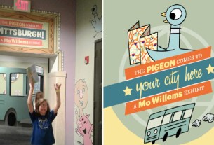 "Entrance to the ""Pigeon Comes to Pittsburgh"" exhibit with an enthusiastic 11yo in front; customizable logo ""The Pigeon Comes to *Your City Here*, a Mo Willems Exhibit"" designed by Mo Willems and the Children's Museum of Pittsburgh"
