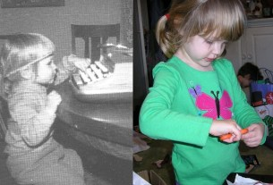 side by side pictures of near-identical two year old girls, one on the left in black and white: the one on the right's mother