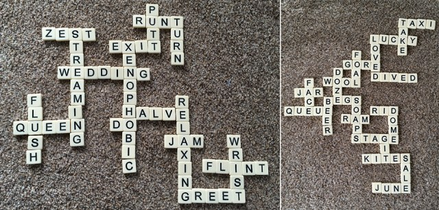 Examples of Bananagrams Word Grids, Image: Sophie Brown