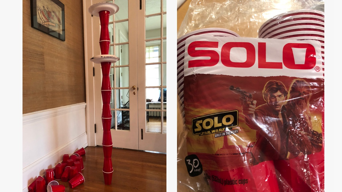Stacked Solo cups, Solo movie cover on package of Solo cups.