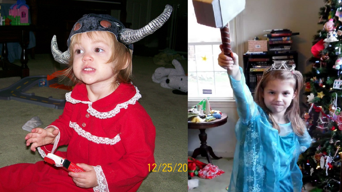 Left: toddler in a Viking Helmet. Right: 7yo in a Queen Elsa dress, wielding Thor's hammer