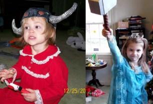 Left: toddler in a Viking Helmet. Right: 7yo in a Queen Elsa dress, wielding Thor's hammer